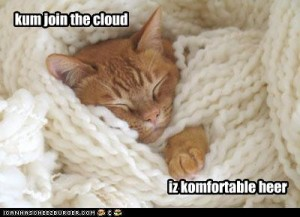 Kitten with caption: Come join the cloud, is comfortable