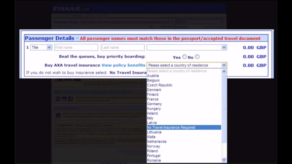Classic Evil UX from Ryanair
